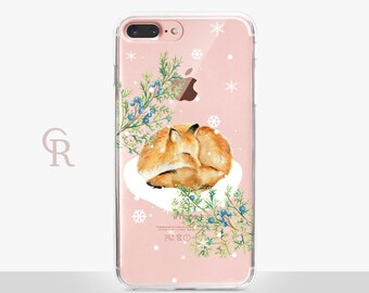 Christmas Fox iPhone 8 Plus Case Clear  - Clear Case - For iPhone 8 - iPhone X - iPhone 7 Plus - iPhone 6 - iPhone 6S  iPhone SE Transparent