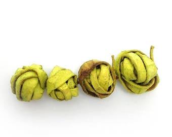 SALE 10% OFF Balls, lemon, orange peel, 18-30mm, 4 pieces, per