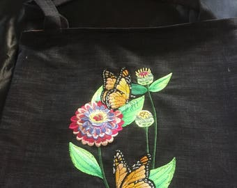 Embroidered tote bag with butterflies and flower. Book bag, reusable shopping bag, butterflies butterfly embroidered