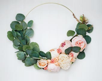 Peony and Eucalyptus Gold Hoop Wreath