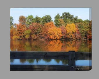 Fall Leaves Canvas Print / Wall Decor / Autumn Colors Canvas / Reflections on the Lake / Country Decor