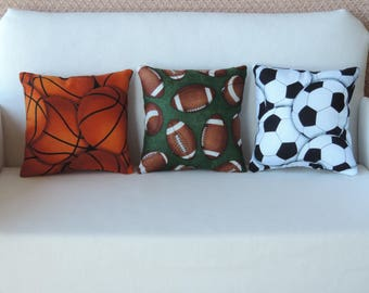 Sports Pillows for American Boy and Girl dolls and other 18 inch dolls