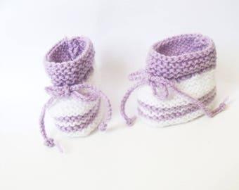 Booties newborn purple & white baby size 0/3 months