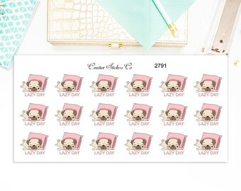 Pug Lazy Day Stickers – Lazy Day Planner Stickers – Sized for the Erin Condren - 2791