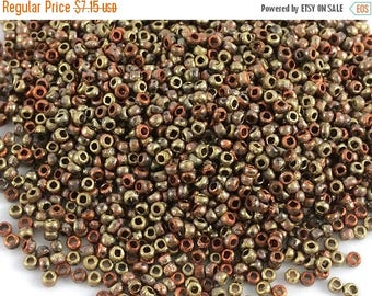 On Sale 15 grams Etched 11/0 Seed Beads, Czech, Crystal California Gold Rush