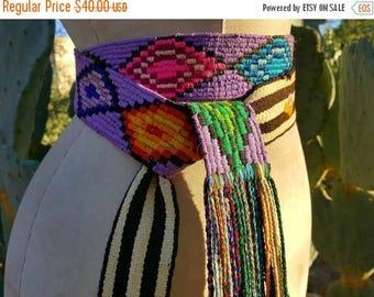 SUMMER SALE Vintage Handwoven Organic Cotton Hippie Folk Art Guatemalan Faja Sash