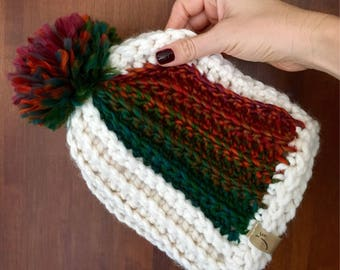 Pop of Color Winter Beanie with Extra Large Pom Pom