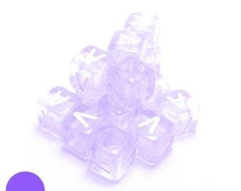 6mm square BEAD letter V translucent purple