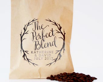 The Perfect Blend, Coffee Favor Bags, Wedding Favor Bags, Coffee Favors, Love is Brewing, Custom Favor Bag, Favor Bags, Wedding Logo
