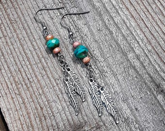 Turquoise and Pink Czech Glass and Silver Feather Earrings