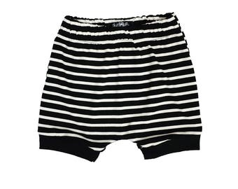 Toddler Harem Shorts - Black Stripe Shorts - Baby shorts - Toddler shorts - Toddler Outfit - Baby boy shorts - Baby Outfit - Baby clothes