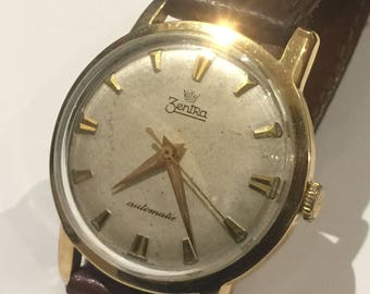 14K Yellow Gold Royal Zentra Automatic Gents' Watch. Vintage, circa 1960's.