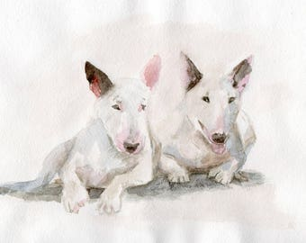 Bull Terrier dog- Original Watercolor Painting - 5,9x8,26 inch