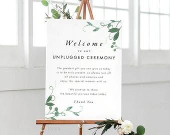 Modern Botanical Unplugged Wedding Sign, Unplugged Ceremony Sign Printable, Unplugged Sign, Unplugged Wedding PDF - (Item code: P1057)