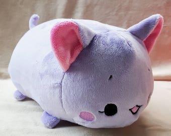 Lavender Cat Tsumu Plush // Kawaii Kitty Roll Plushie // Handmade Stuffed Animal Plush Toy // Pink Neko // Ready to Ship