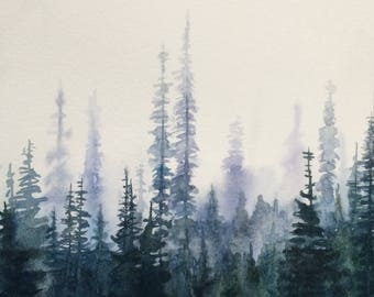Pine tree painting, pine tree forest, watercolor trees, forest painting, Misty pines, northwest trees, PNW trees, Tree painting, forest