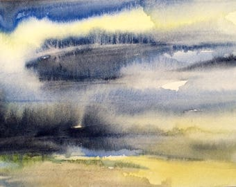 Abstract landscape, Sky painting, stormy skies, storm clouds, Sky watercolor, landscape painting, landscape watercolor, cloud painting