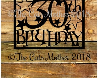 30th Birthday Stars Paper Cutting Template - Commercial Use