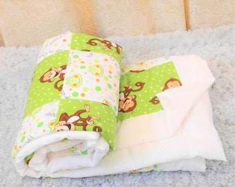 Ready To Ship Now. Cotton Baby Blanket Baby Quilt Monkey Patchwork Quilt Receiving Blanket Baby Wrap Monkey Baby Shower Monkey Nursery Decor