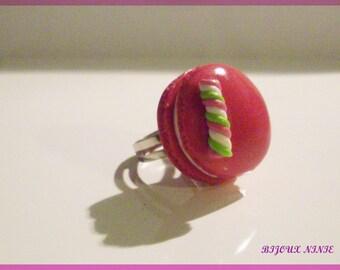 Fimo rose macaron lollipop ring