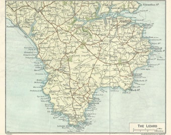 1915  map of the lizard cornwall england antique map by  muirhead  vintage wall decor.