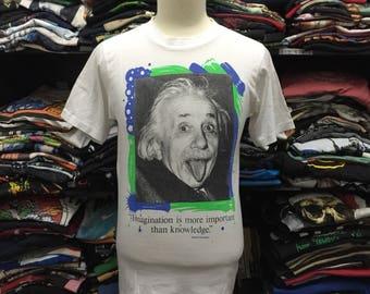 Vintage Albert Einstein Photo Print Tshirt
