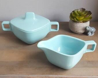 "Aqua Blue Sugar Bowl and Creamer in ""Tropicana Aqua"" line by Brookpark Modern Designs, 1950s Design by Joan Luntz Vintage Kitchen"
