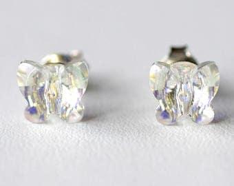 Swarovski AB effect silver Butterfly shape Stud Earrings
