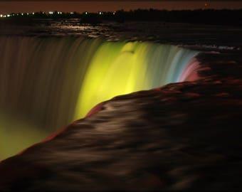 Poster, Many Sizes Available; Niagra Falls Canadian Horseshoe Falls At Night