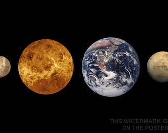 Poster, Many Sizes Available; Inner Planets (Left To Right) Mercury, Venus, Earth And Mars To Scale Terrestrial