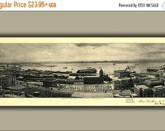 40% OFF SALE Poster, Many Sizes Available; View Of Harbor San Juan Puerto Rico 1927