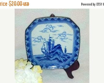 Vintage Blue & White Ship Sailing OCTAGON Plate,Andrea by Sadek,Porcelain Plate,Sailing Ship,Clipper Ship,Japanese, Arita,Nautical,1980s
