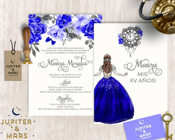 like this item - Royal Blue Quinceanera Invitations