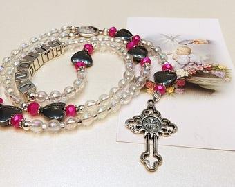 Personalized Rosary. Baptism Rosary. White and Pink Baby Rosary. Christening Rosary. Catholic Rosary. Catholic Gift. Holy Rosary. #R124