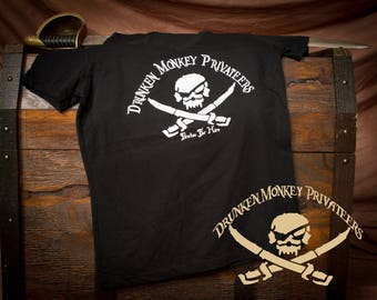 Pirate T-Shirt, Drunken Monkey Shirt, Pirate Clothing, Pirate Logo Shirt