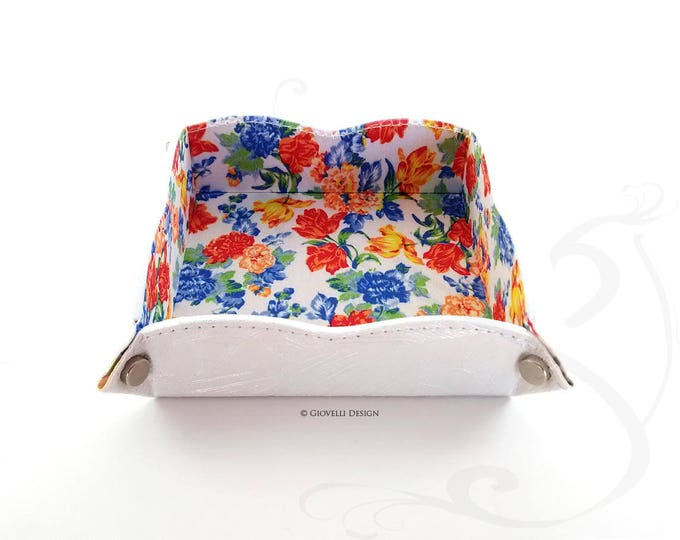 Leatherette Valet tray / Floral Tary