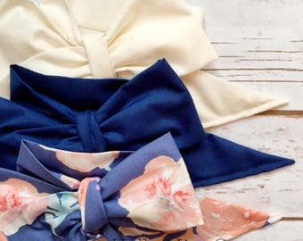 Gorgeous Wrap Trio (3 Gorgeous Wraps)- Ivory, Navy & Royal Blue Floral Gorgeous Wraps; headwraps; fabric head wraps; bows
