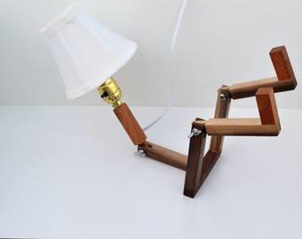 lamp, sitting man lamp, desk lamp, unique lamp, small lamp, funny lamp,