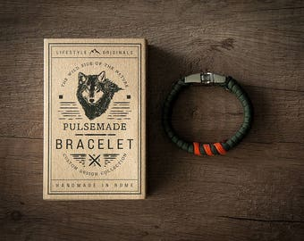 Men's bracelet-green military woman > > > Orange Unisex-Handmade Pulsemade paracord Mens bracelet-Womens Olive Drab > > > Orange