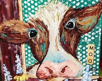 Cow mixed media moo painting