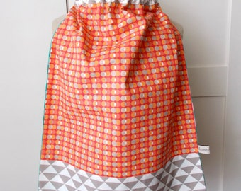 Elasticated towel my peas in the land of triangles in taupe and coral