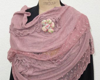 "Scarf ""TRENDY great ROMANTICA"" with custom resin button"