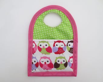 Bag to recharge mobile fabric Green/Pink owls