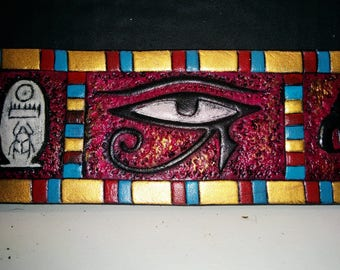 "Leather Bracelet ""Eye of HORUS"", red, blue and gold Egyptian inspired, hand painted and engraved"
