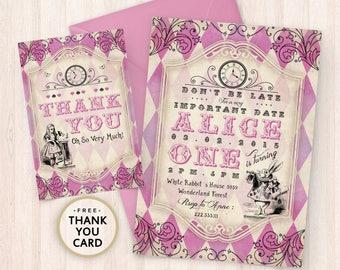 Printable Alice in Wonderland Birthday Invitation - Ornamented Printable Alice Invite - Girl White Rabbit Invite - Mad Hatter - Digital File
