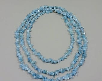 SUMMER SALE Long Free form aquamarine chips necklace
