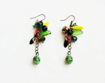 Green Czech glass beads earrings boho medium long bronze handmade earrings deep earrings handmade Czech glass beads earrings gift for her