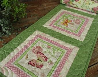 Quilted Table Runner, Spring Green Floral Table Runner, Feminine Mothers Day Gift, Dresser Scarf, Long Butterfly Table Runner, Reversible