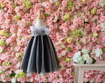 Tulle Girl dress wedding bridal recital children black gray