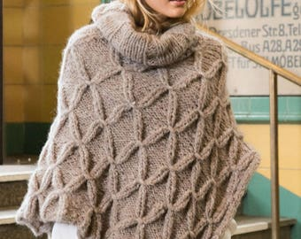 Hand knitted beige poncho. One size. Spring/Summer/Fall/Winter. Alpaca - merino. Made-to-order